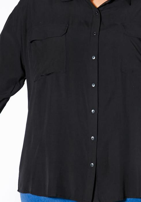 Asoph Plus Size Button Up Collared Womens High Low Blouse