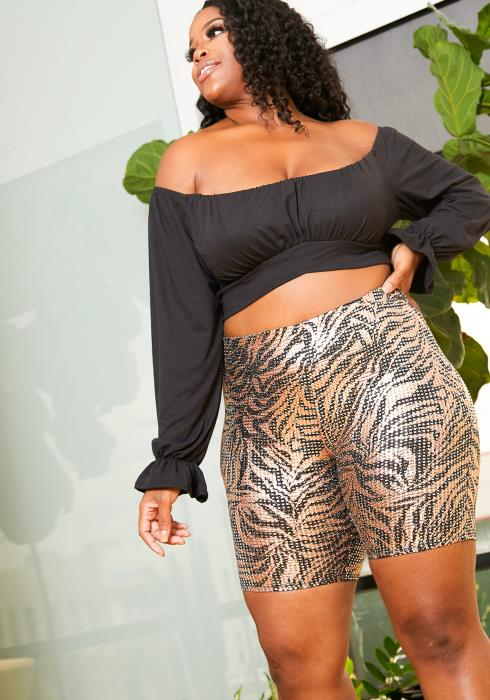 Asoph Plus Size Metallic Gold Zebra Biker Shorts
