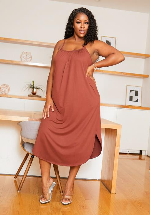 Asoph Plus Size Cami Casual Suede Womens Midi Dress