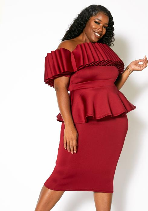 Asoph Plus Size Off Shoulder Party Red Carpet Dress