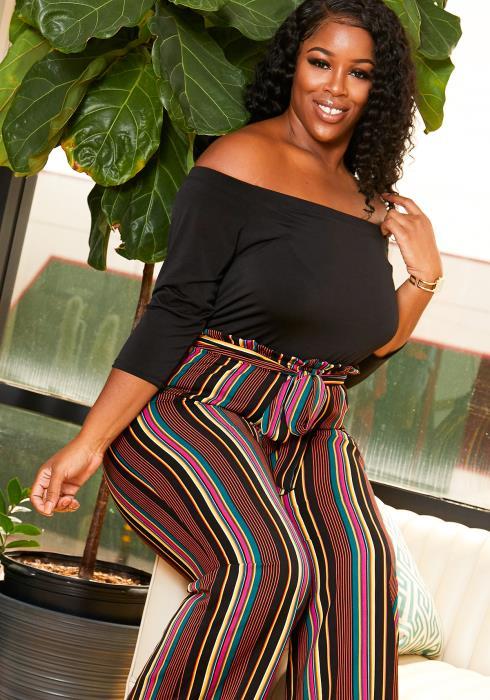 Asoph Plus Size Striped Paperbag Waist Jumpsuit