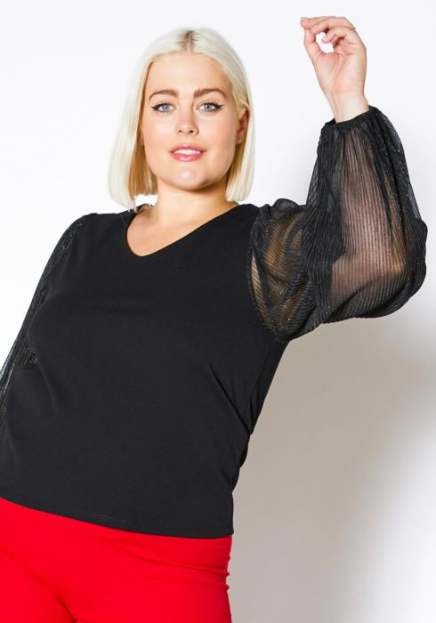 Asoph Plus Size Sparkle Mesh Sleeve Top