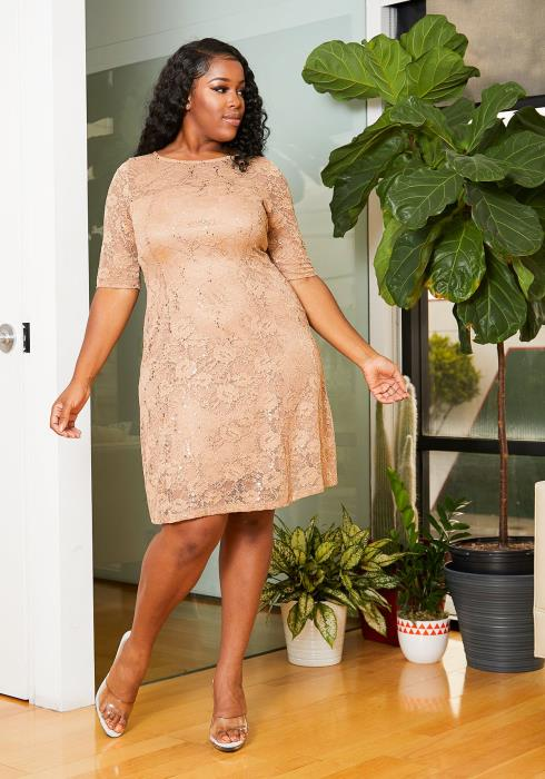 Asoph Plus Size Floral Sequined Lace Womens Dress