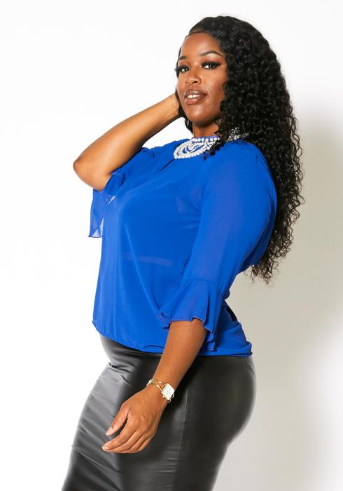 Asoph Plus Size Pearl Embellished Blouse Top