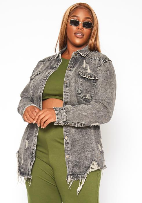 Asoph Plus Size Fray Distress Hem Denim Jacket