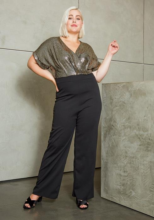 Asoph Plus Size Faux Sequin Contrast Women Jumpsuit