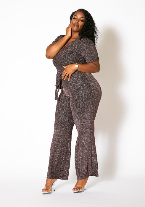 Asoph Plus Size Lurex Knit Jumpsuit