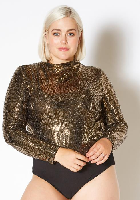 Asoph Curvy Womens Faux Sequin Mock Neck Bodysuit