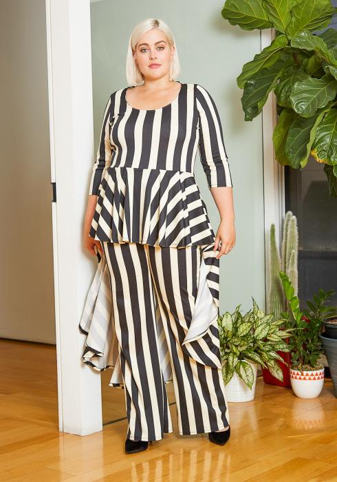 Asoph Plus Size Striped High to Low Peplum Women Jumpsuit
