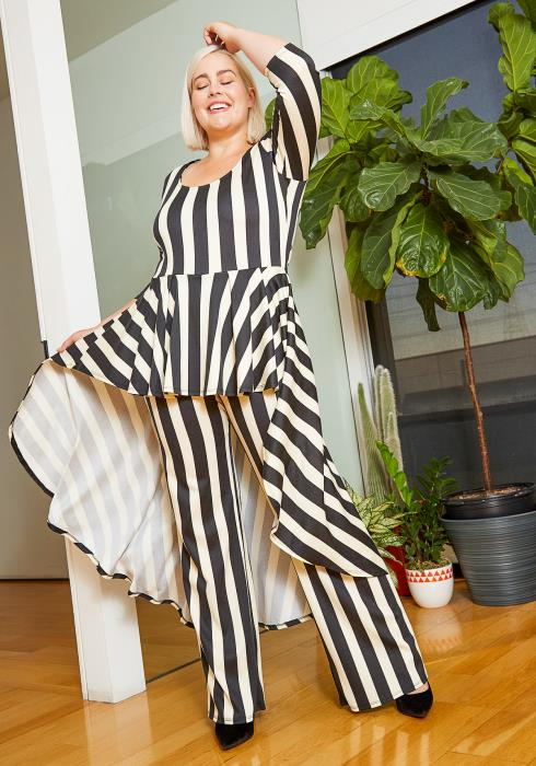 Asoph Plus Size Striped High to Low Peplum Women Jumpsuit