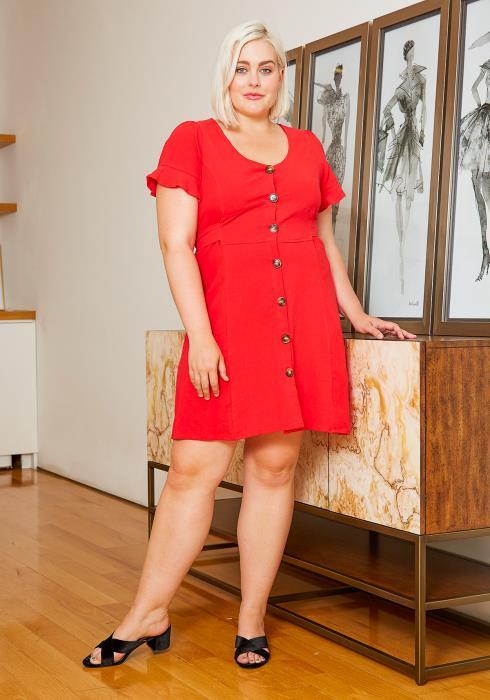 Asoph Plus Size Button Through Womens Mini Dress