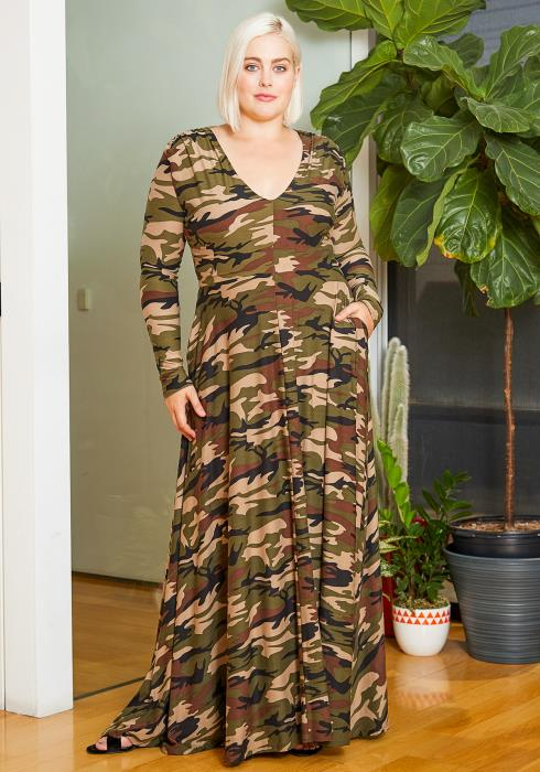 Asoph Plus Size Womens Camo Stunt Maxi Dress