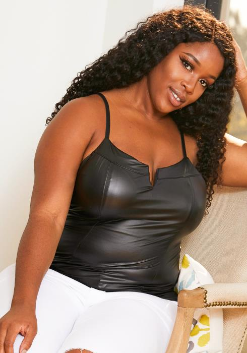 Asoph Curvy Womens Faux Leather Cami Split Top