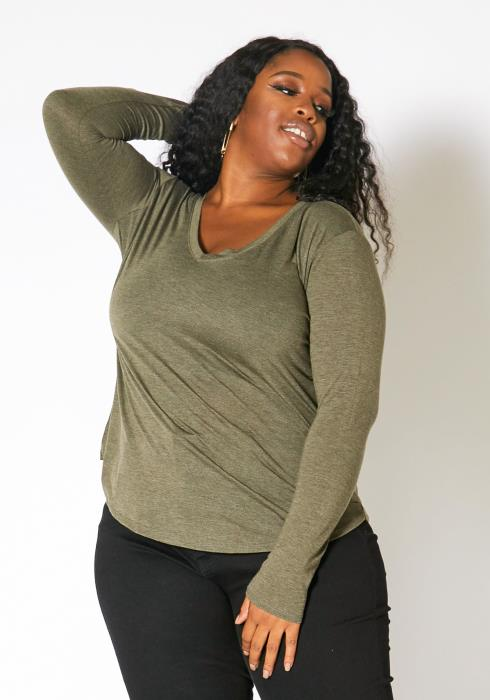 Asoph Plus Size Womens V-Neck Long Sleeve Basic Top