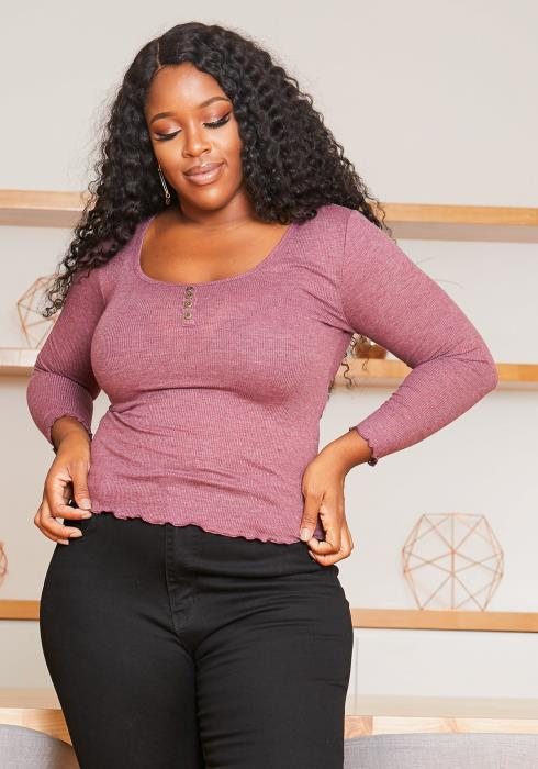 Asoph Plus Size Scoop Henley Neck Ribbed Fitted Top