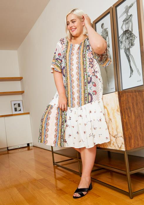 Asoph Plus Size Womens Flowy Print Mixed Midi Dress