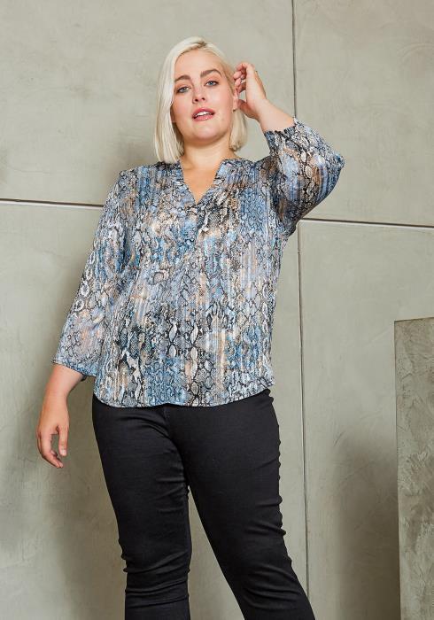 Asoph Plus Size Blue Metallic Snakeskin Women Blouse