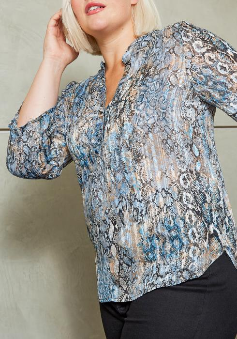 Asoph Plus Size Blue Metallic Snakeskin Women Blouse