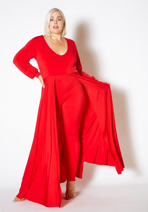 Asoph Plus Size Caped Solid Fitted Jumpsuit