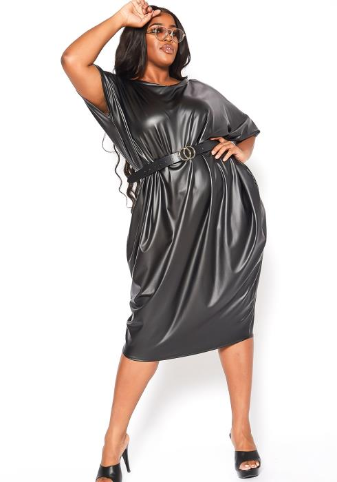 Asoph Plus Size Womens Oversized Faux Leather Midi Dress