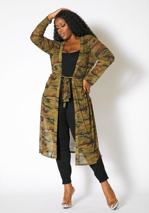 Asoph Plus Size Camo Womens Mesh Long Cardigan