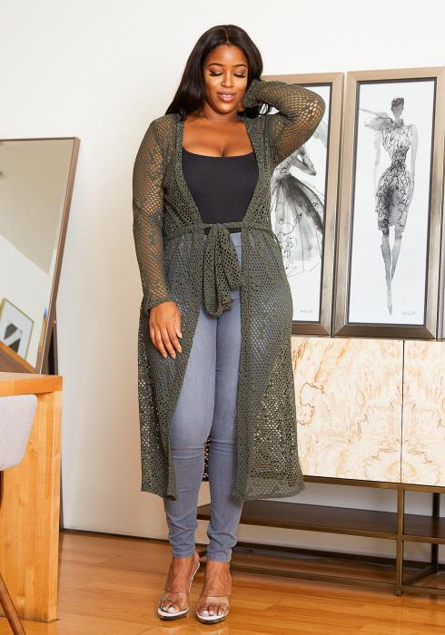 Asoph Plus Size Womens Longline Fishnet Olive Cardigan