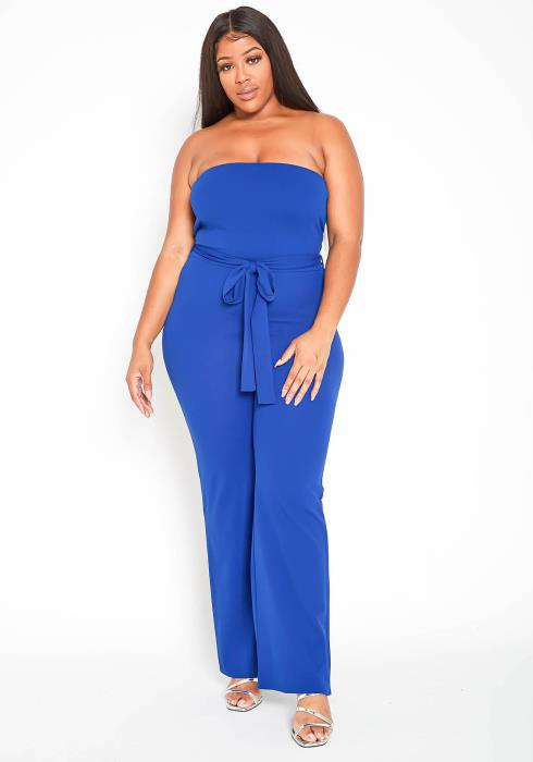 Asoph Plus Size Simply Elegant Tie Waist Flared Tube Jumpsuit