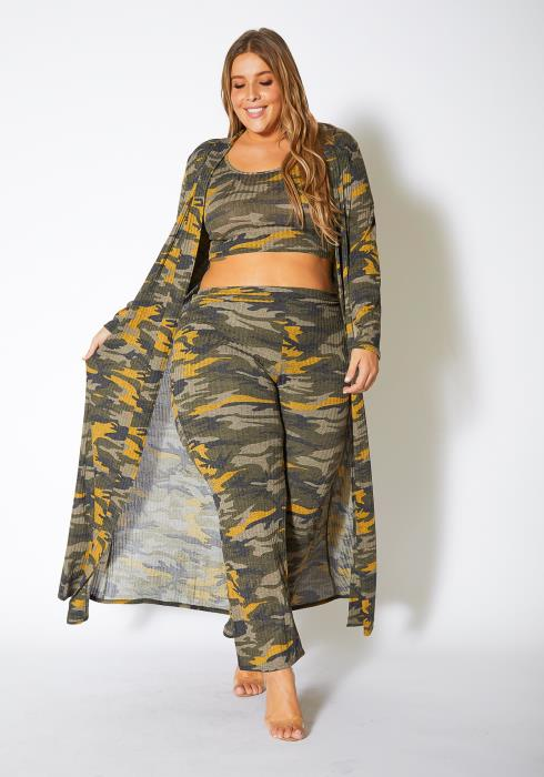 Asoph Plus Size Vintage Camo 3 Piece Set