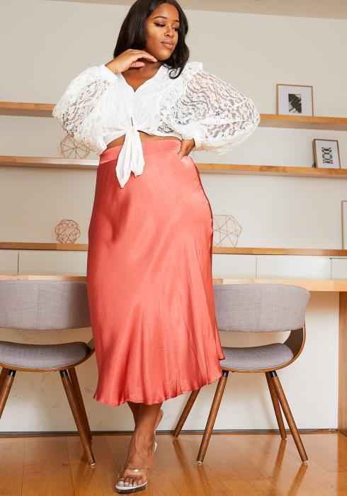 Asoph Plus Size Elastic Waist Satin Mermaid Maxi Skirt