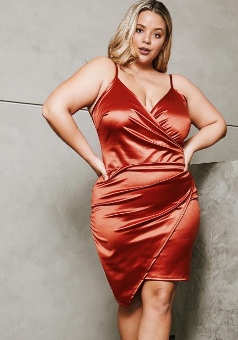 Asoph Curvy Womens Soft Satin Wrap Party Dress