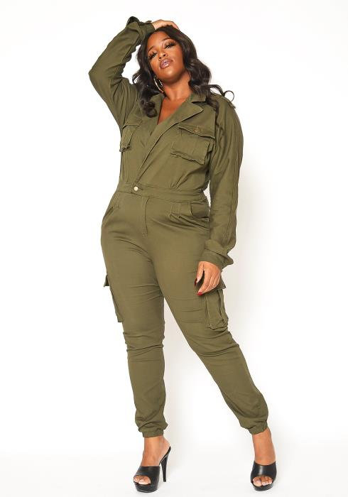 Asoph Plus Size Notch Collar Cargo Denim Jumpsuit