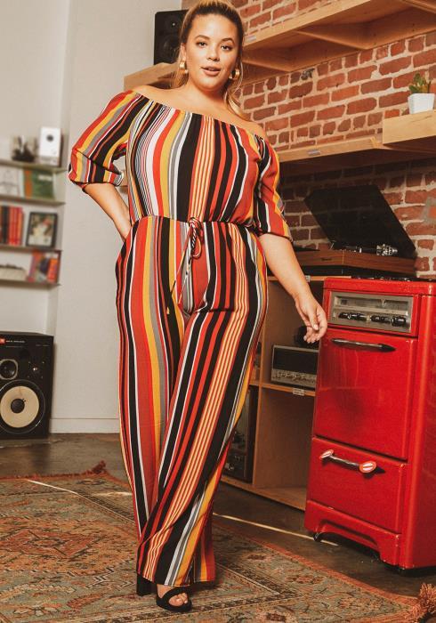 Asoph Plus Size Off Shoulder Multi Stripe Jumpsuit