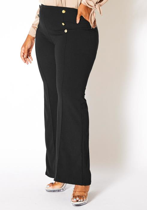 Asoph Curvy Womens High Waisted Sailor Flare Pants