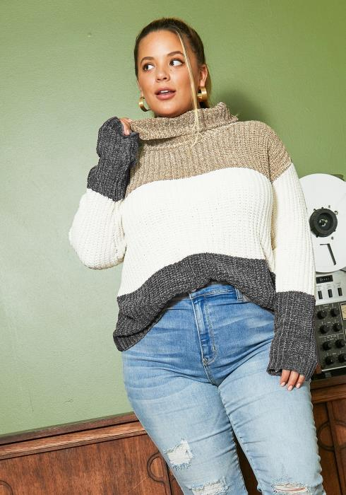 Asoph Plus Size Turtle Neck Soft Fall Sweater