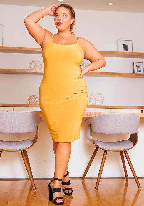 Asoph Curvy Womens Golden Hour Mustard Cami Dress