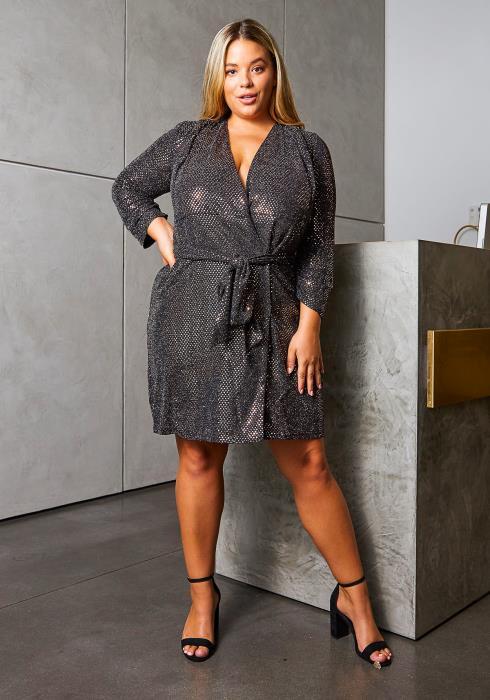 Asoph Plus Size Sparkle Sequin Women Wrap Dress | Asoph.com