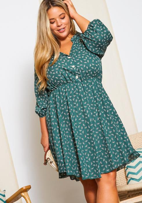 Asoph Plus Size Womens Fall For You Chiffon Mini Dress