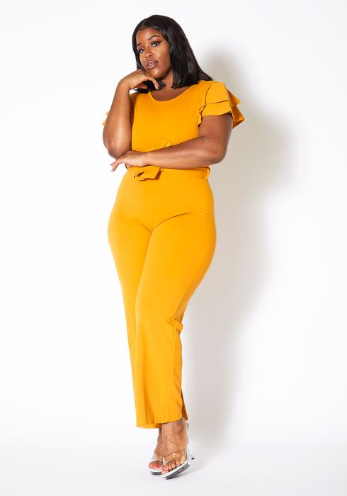 Asoph Curvy Womens Golden Hour Ruffle Sleeve Jumpsuit