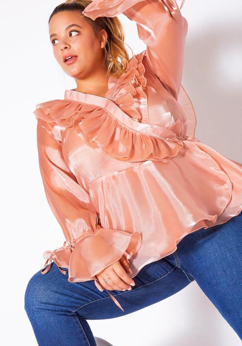 Asoph Plus Size Shimmery Rosé Ruffle Wrap Blouse