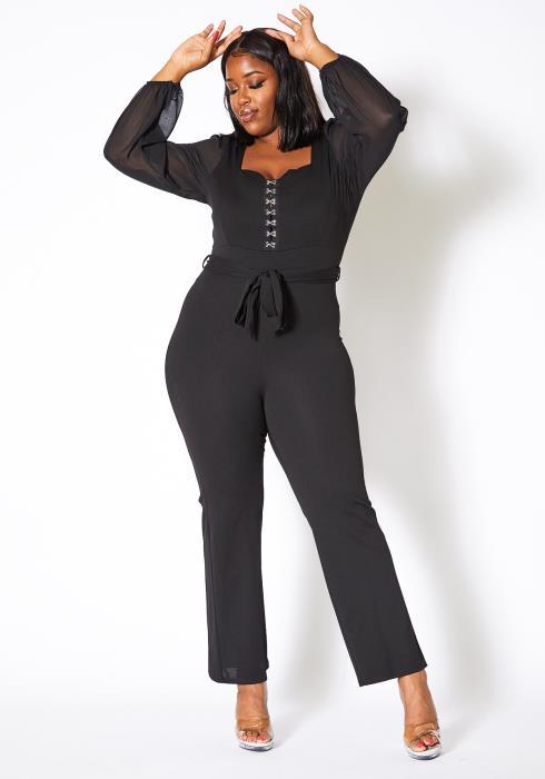 Asoph Plus Size Womens Black Corset Clip Jumpsuit