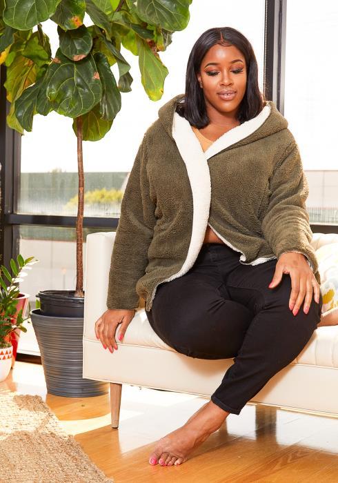 Asoph Plus Size reversible Womens Teddy Coat