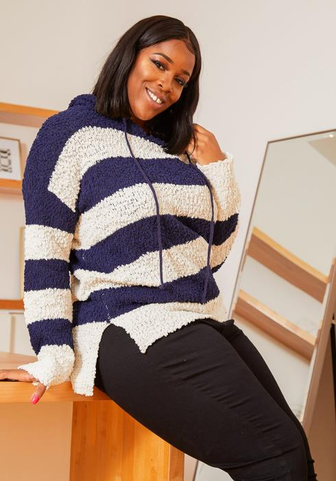 Asoph Plus Size Nubby Knitted Womens Striped Hoodie Sweater
