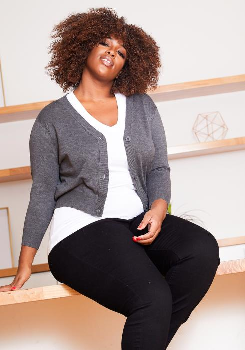 Asoph Plus Size Charcoal Gray Womens Fitted Cardigan