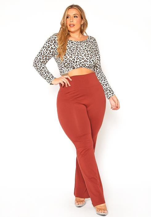Asoph Plus Size High Waisted Yoga Flare Leggings