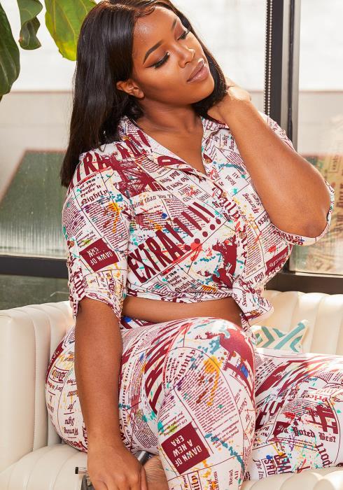 Asoph Curvy Womens Daily News Collar Blouse and Legging Set
