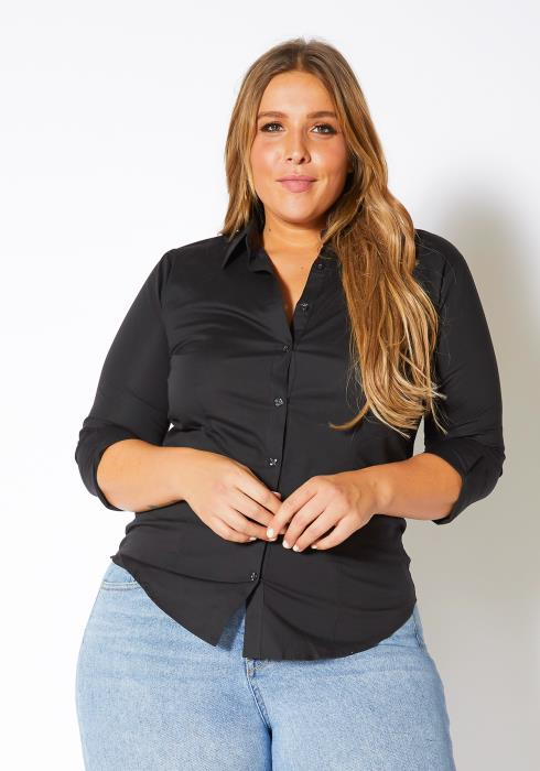 Asoph Plus Size Everyday Basic Sophisticated Womens Collar Blouse