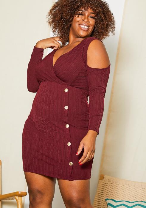 Asoph Plus Size Open Shoulder Ribbed Knit Mini Dress