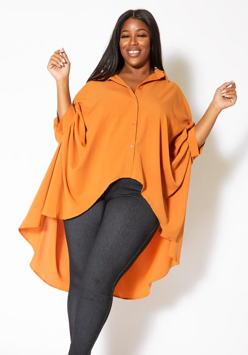 Asoph Plus Size High to Low Collared Womens Blouse