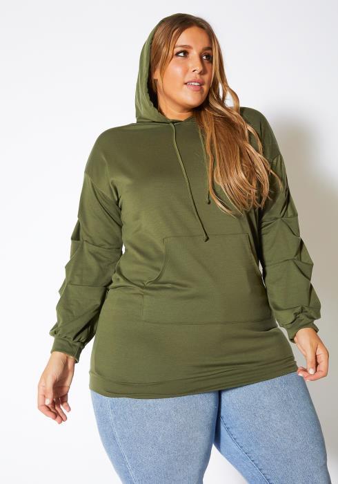 Asoph Plus Size Tier Gathered Sleeves Women Hoodie Sweater