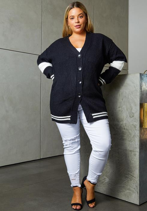 Asoph Plus Size Varsity Womens Knit Cardigan